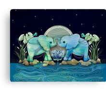 Lotus Flower Elephants Ocean Blue and Sea Green Canvas Print