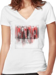 We Painted the Town Red Women's Fitted V-Neck T-Shirt