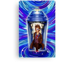 10th Doctor with Blue Phone box in time vortex Canvas Print