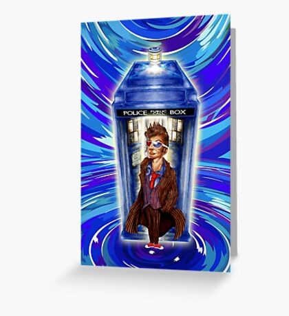 10th Doctor with Blue Phone box in time vortex Greeting Card