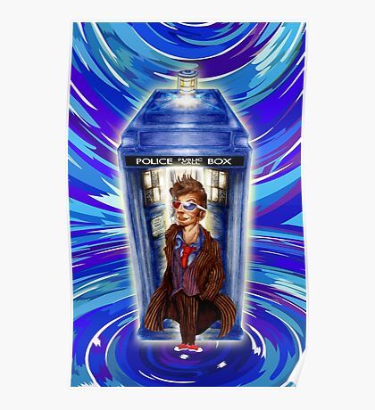 10th Doctor with Blue Phone box in time vortex Poster