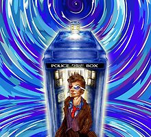 10th Doctor with Blue Phone box in time vortex by PremanDesign