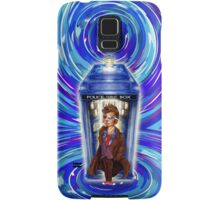 10th Doctor with Blue Phone box in time vortex Samsung Galaxy Case/Skin