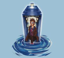 10th Doctor with Blue Phone box in time vortex Baby Tee