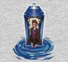 10th Doctor with Blue Phone box in time vortex One Piece - Long Sleeve