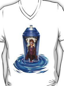 10th Doctor with Blue Phone box in time vortex T-Shirt