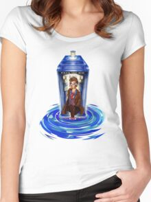 10th Doctor with Blue Phone box in time vortex Women's Fitted Scoop T-Shirt
