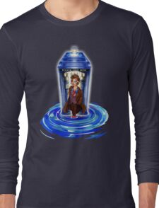 10th Doctor with Blue Phone box in time vortex Long Sleeve T-Shirt