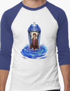 10th Doctor with Blue Phone box in time vortex Men's Baseball ¾ T-Shirt
