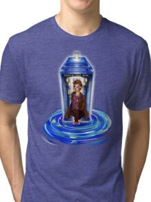 10th Doctor with Blue Phone box in time vortex Tri-blend T-Shirt