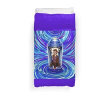 10th Doctor with Blue Phone box in time vortex Duvet Cover