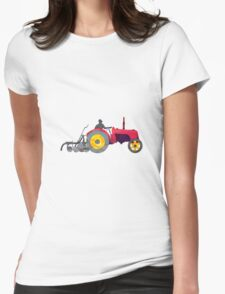 Farmer Driving Vintage Farm Tractor Low Polygon T-Shirt