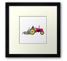 Farmer Driving Vintage Farm Tractor Low Polygon Framed Print