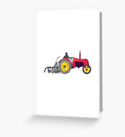 Farmer Driving Vintage Farm Tractor Low Polygon Greeting Card