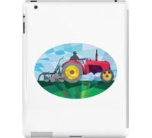 Farmer Driving Vintage Farm Tractor Oval Low Polygon iPad Case/Skin
