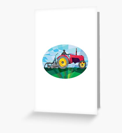 Farmer Driving Vintage Farm Tractor Oval Low Polygon Greeting Card