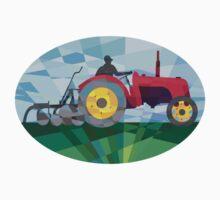 Farmer Driving Vintage Farm Tractor Oval Low Polygon by patrimonio