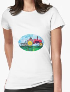 Farmer Driving Vintage Farm Tractor Oval Low Polygon T-Shirt