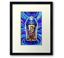 11th Doctor with Blue Phone box in time vortex Framed Print