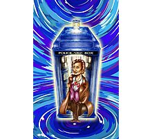 11th Doctor with Blue Phone box in time vortex Photographic Print