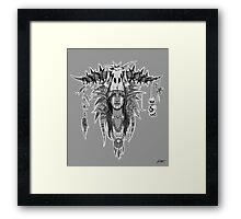 Signed Grey Prehistoric Elf Witch Doctor Framed Print
