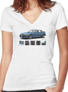Rover Vitesse 1986 Moonraker Blue Women's Fitted V-Neck T-Shirt