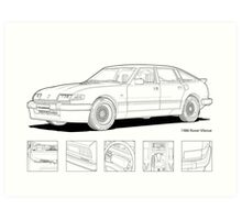 Rover Vitesse 1986 Line Illustration Art Print