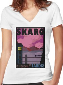 SKARO QUICKER BY TARDIS Women's Fitted V-Neck T-Shirt