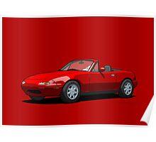 Mazda MX-5 Miata MK1 Classic Red Poster