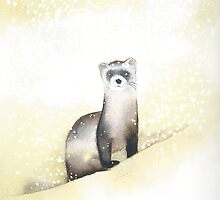 Ferret in the Snow by Ray Shuell
