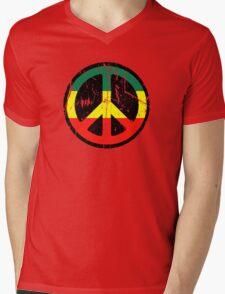 Rasta Peace and love - Distressed Mens V-Neck T-Shirt