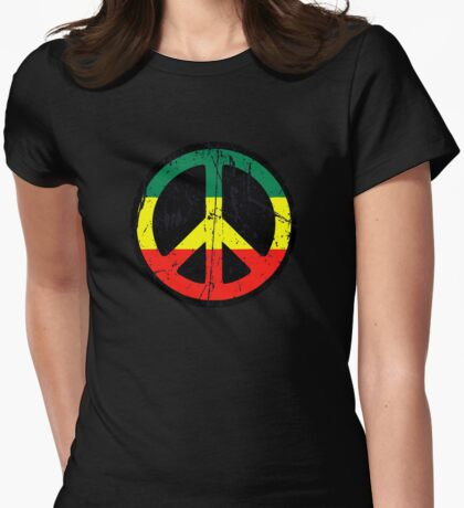 Rasta Peace and love - Distressed Womens Fitted T-Shirt