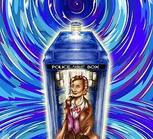 11th Doctor with Blue Phone box in time vortex by PremanDesign