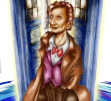 11th Doctor with Blue Phone box in time vortex Sticker
