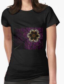 Dark Fractal Flower Womens Fitted T-Shirt