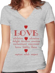 Many Faces of Love Women's Fitted V-Neck T-Shirt