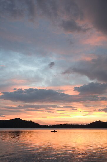 kayaker at sunset, Waldo Lake, Oregon by Christopher Barton