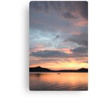 kayaker at sunset, Waldo Lake, Oregon Canvas Print