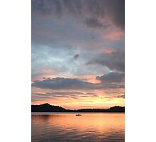 kayaker at sunset, Waldo Lake, Oregon Photographic Print