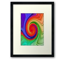 Raspberry Ripple In Green, Ochre , Purple and Blue Rainbow Framed Print