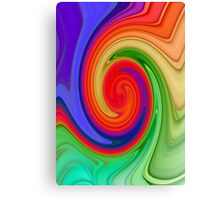 Raspberry Ripple In Green, Ochre , Purple and Blue Rainbow Canvas Print