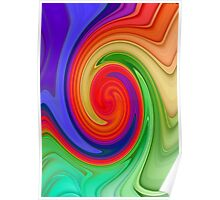 Raspberry Ripple In Green, Ochre , Purple and Blue Rainbow Poster