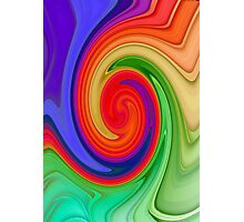 Raspberry Ripple In Green, Ochre , Purple and Blue Rainbow Photographic Print