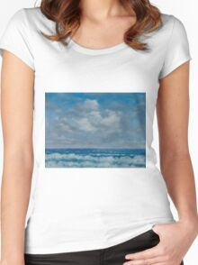 Ocean View Seascape in Oil Women's Fitted Scoop T-Shirt