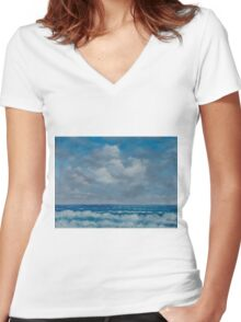Ocean View Seascape in Oil Women's Fitted V-Neck T-Shirt