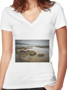 Rocks at Wonoona Beach Women's Fitted V-Neck T-Shirt