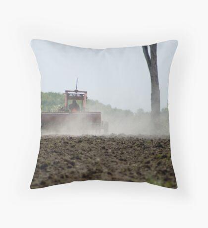 Planting the crop Throw Pillow