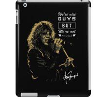 Rocker singing stylish poster on black background iPad Case/Skin