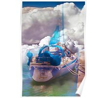 boat in a cloudy sea Poster