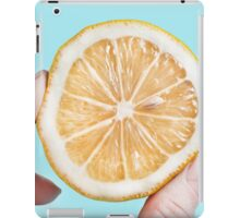 Juicy lemon on a blue background iPad Case/Skin